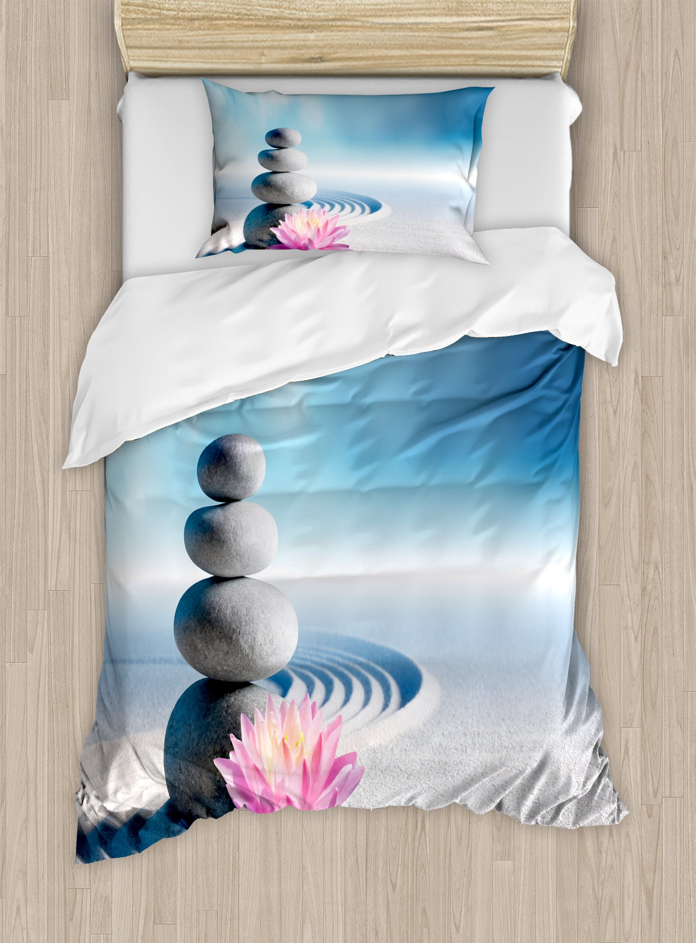 Ambesonne Spa Duvet Cover Set Twin Size, Stones and Lotus Flower Over Sand Meditation Harmony Balance Flourish Your Spirit, Decorative 2 Piece Bedding Set with 1 Pillow Sham, Grey Blue Pink