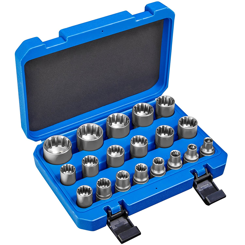 TecTake Ensemble de clé á douille Gear Lock 19 pcs | Adapté aux ouvertures de clés métriques + pouce et torx femelle | incl. Coffret