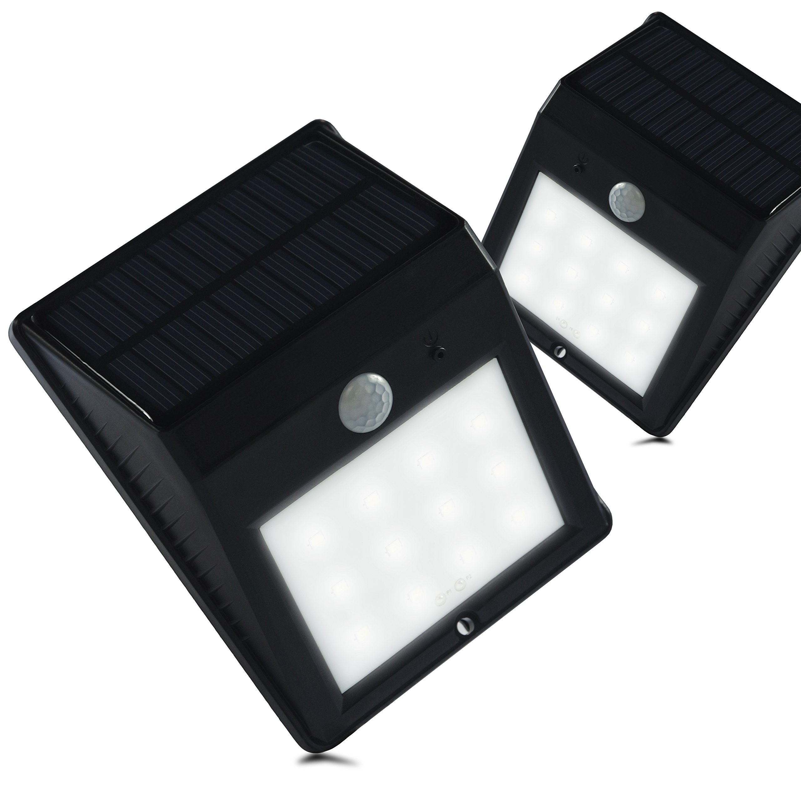 ETOPLIGHTING [2-Pack] Outdoor LED Wall Security Light with PIR Motion Sensor and Built-In Solar Panel, APL1513