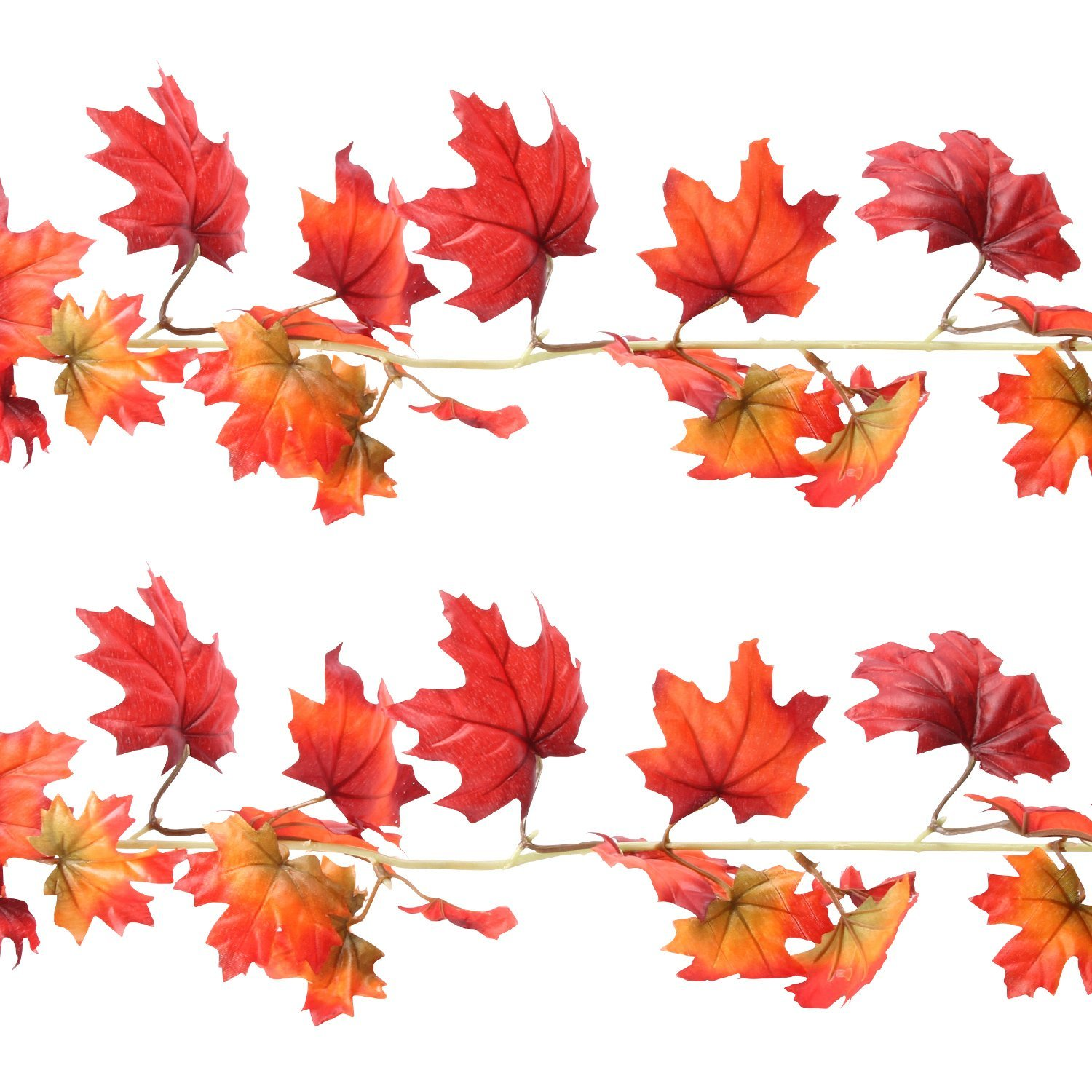 Sunshane 5.9 Feet Fall Garland Artificial Maple Leaf Garland Autumn Thanksgiving Party Room Decoration (2 Pack)