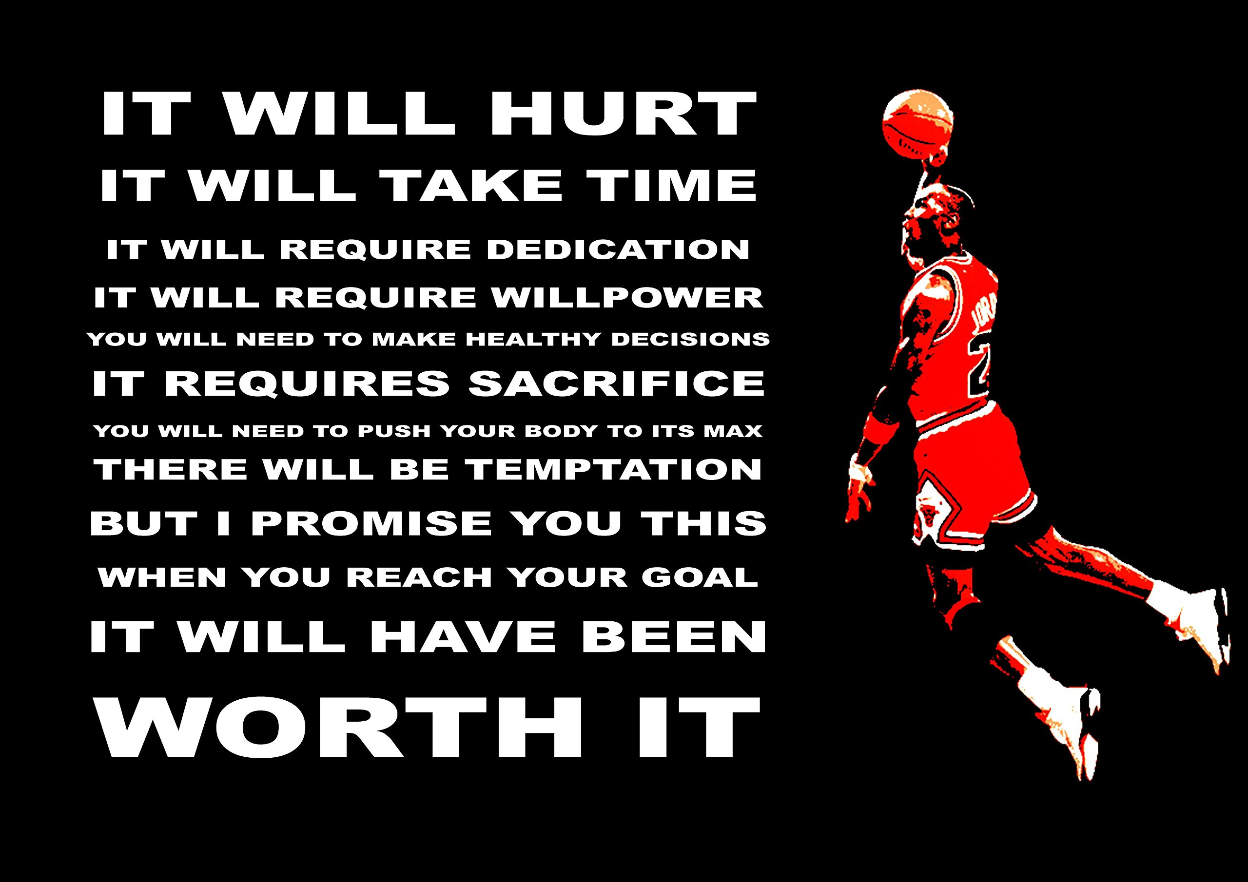 MOTIVATIONAL SPORTS QUOTE POSTER PRINT IT WILL HURT WORTH IT INSPIRATIONAL