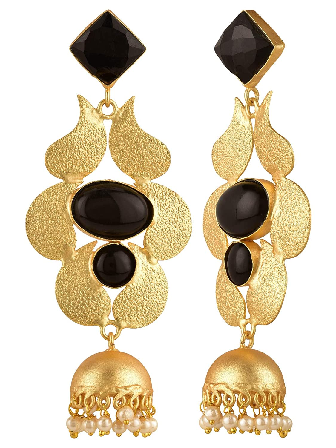 Efulgenz Indian Bollywood 14K Gold Plated Black Crystal Pearl Floral Style Jhumka Jhumki Big Earrings Jewelry Set