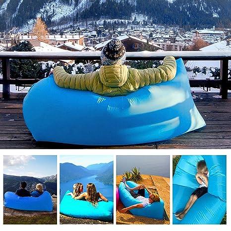 Sofa Hinchable, tumbona hinchable impermeable con paquete portátil,sofa inflable, Cama de aire inflable del sofá del ocioso perezoso para De viaje,Cámping ...