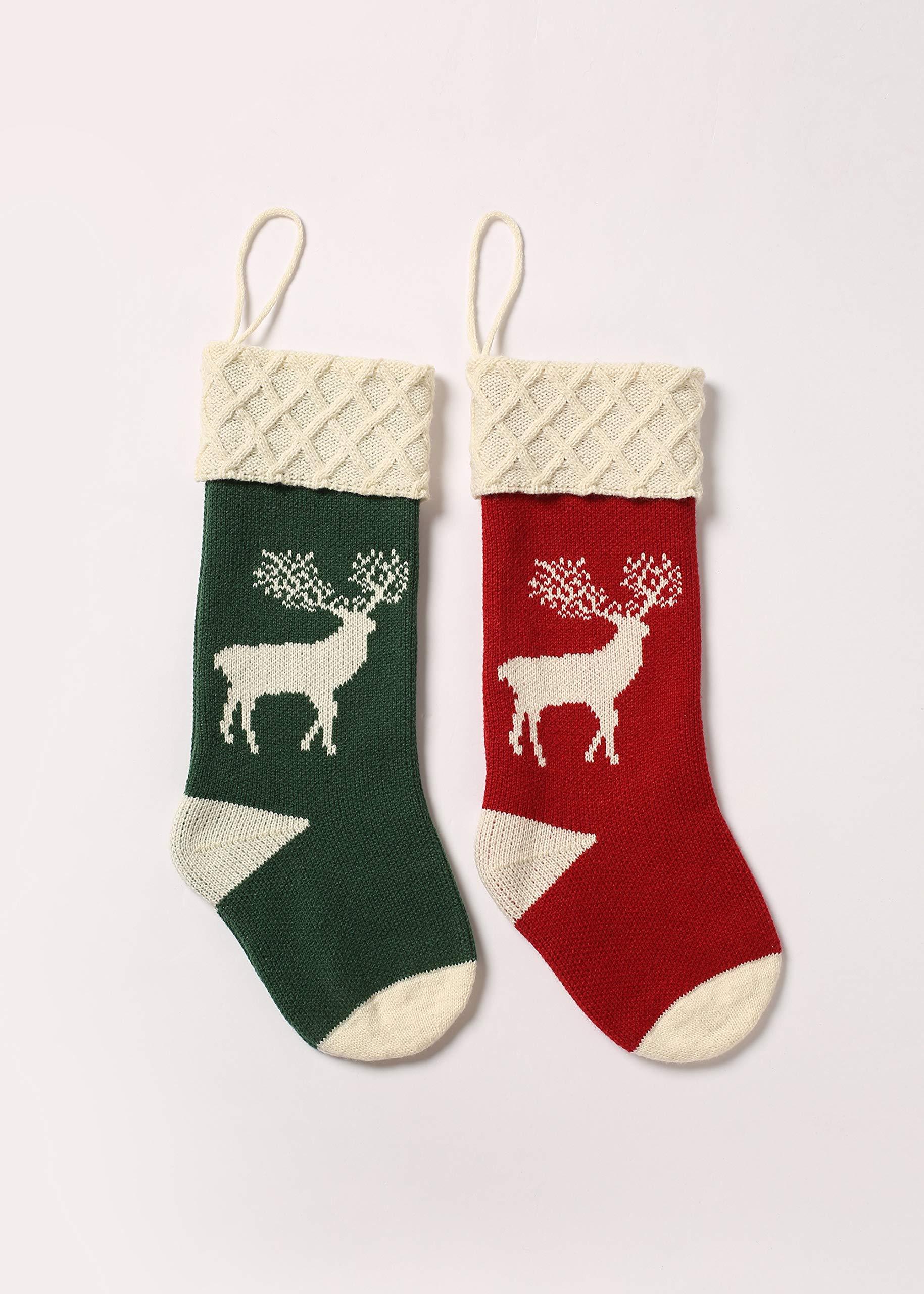 Christmas Stocking Set of 4, Xmas Sock Sack Gift Bag for Tree Decoration Christmas Ornament Candy Pouch Bag Theme Reindeer 4 Pcs