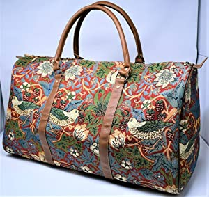 Signare 27527-Strawberry Strawberry Thief Large Tapestry Duffle Bag