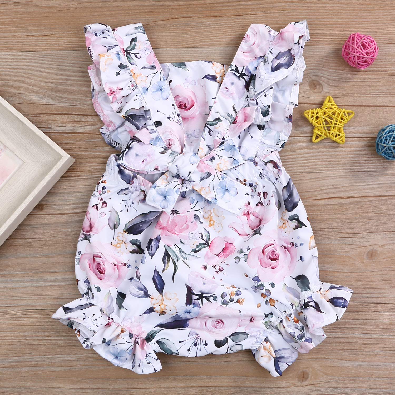 Newborn Baby Girl Clothes Floral Romper Ruffle Sleeve Summer Outfits Clothes Bowknot Set