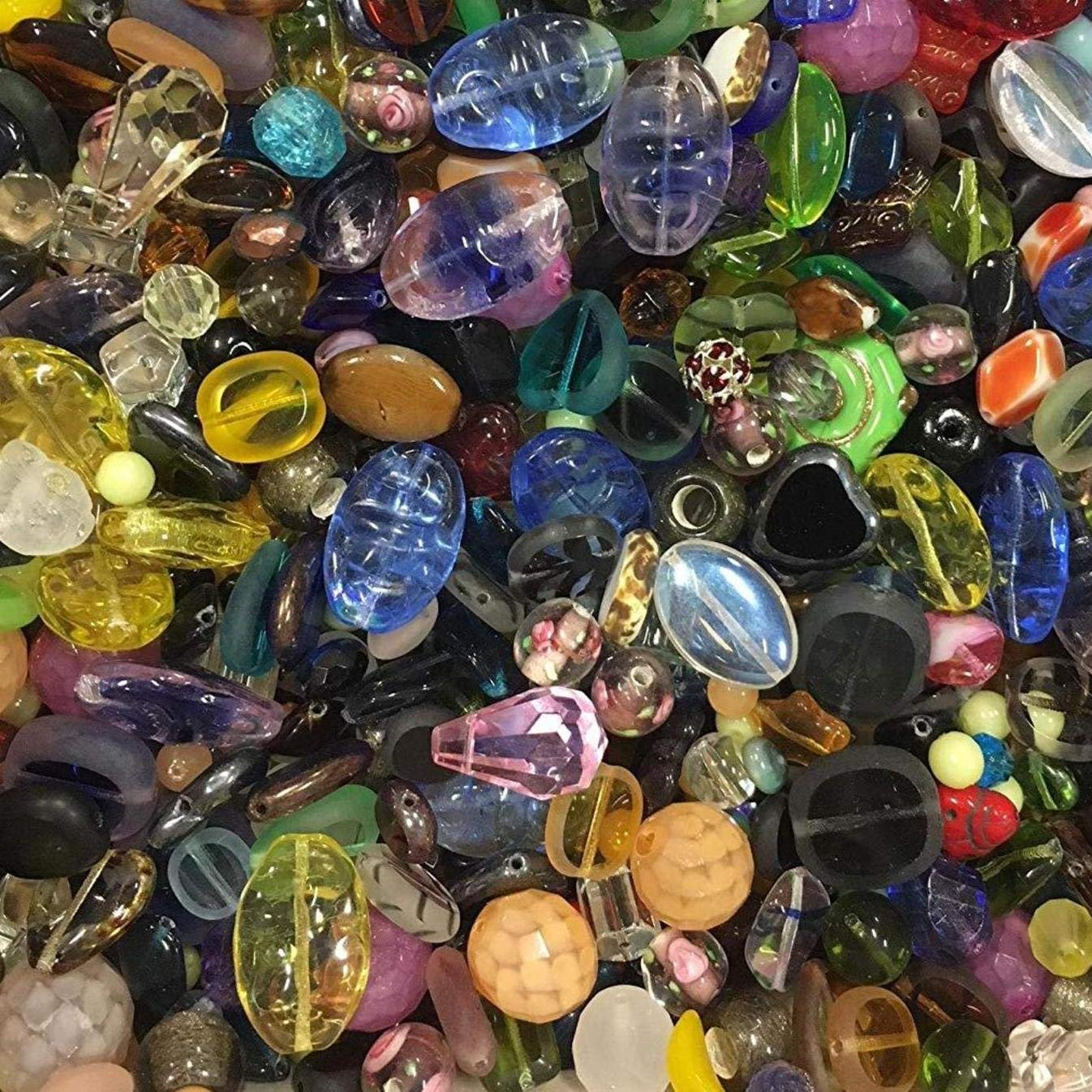 3 Pounds of Mix Lamp Work, Glass, Crystal Mix Beads, Encased Beads, Wedding Cakes, Crackle, Czech Pressed,, Crystal, Chinese Eye, BumpY Dots, Assorted, Variety Mix Size 6mm-24MM, Variety of Colors by modebeads (Image #1)