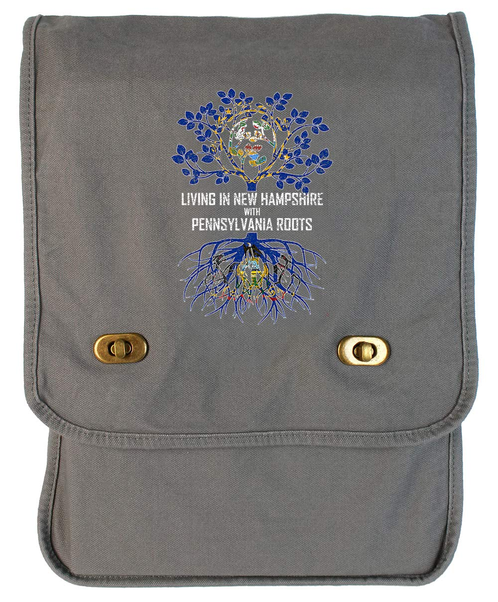 Tenacitee Living In New Hampshire with Pennsylvania Roots Grey Brushed Canvas Messenger Bag