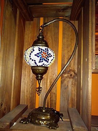 lampara turca de cristales azules sobre mesa 40 cm de altura ...