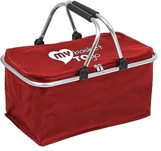 Aufbewahrungs-Korb klappbar mit Gepolsterten Henkeln My Basket to GO Faltbare Tasche groß, stabil, verschließbar, leicht zu reinigen Hohe Tragkraft Shopping-Bag KIRSCHROT