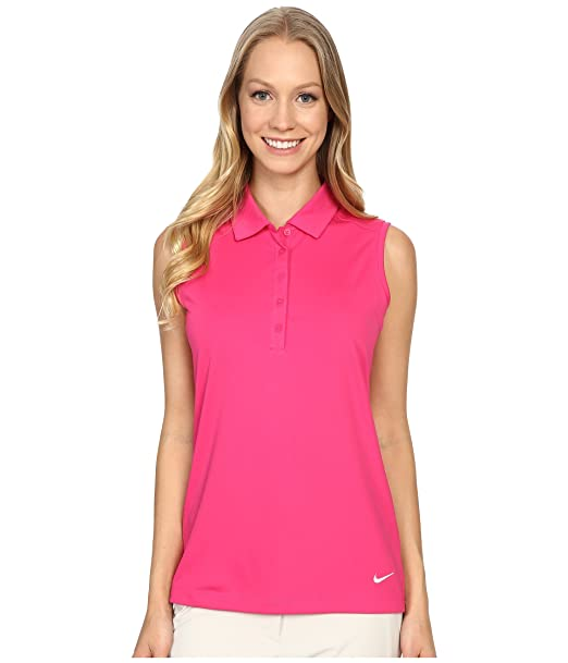 4e64aa2e5556f8 Amazon.com : NIKE Women's Dry Sleeveless Victory Polo, Vivid Pink/White,  X-Small : Clothing
