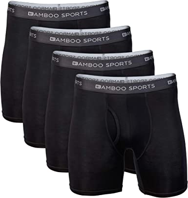 Bamboo Sports Mens Bamboo Boxer Briefs Underwear - Soft & Comfortable Fit 4 inch