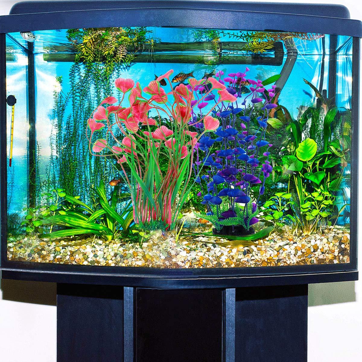 POPETPOP 2 Pack Artificial Aquarium Plants Underwater Eco-Friendly D/écor Plastic Aquarium Underwater Plants Fish Tank Decorations Pink and Purple