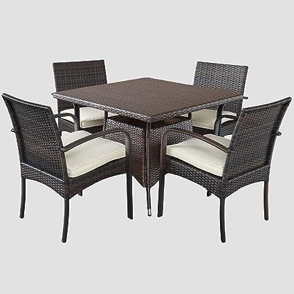 Amazon Com Carmela 5 Piece Outdoor Patio Furniture Wicker Dining