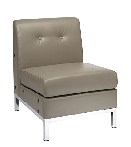 AVE SIX Wall Street Faux Leather Armless Chair With Chrome Accents, Smoke