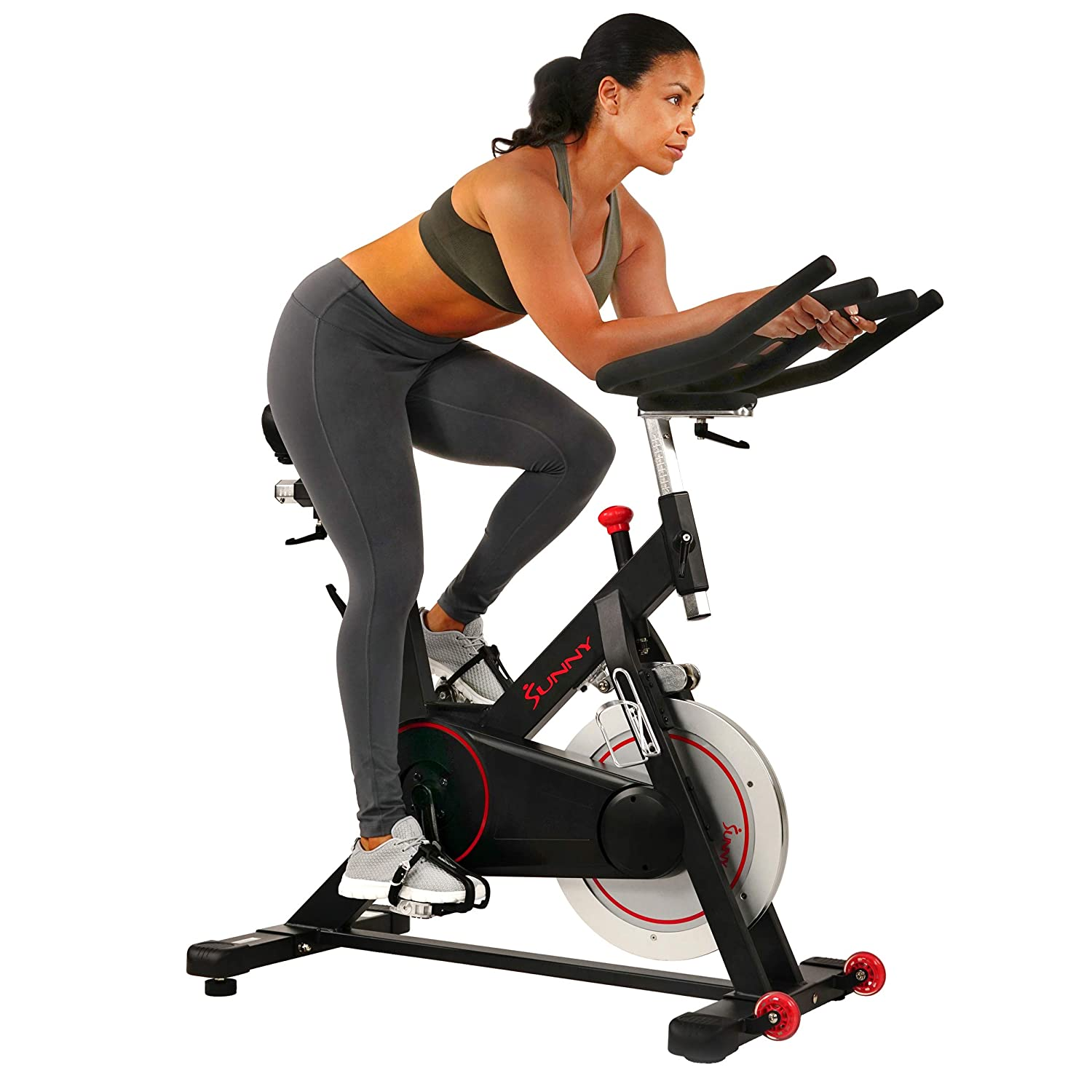 Sunny Health Fitness Magnetic Belt Drive Indoor Cycling Bike with High Weight Capacity and Tablet Holder – SF-B1805