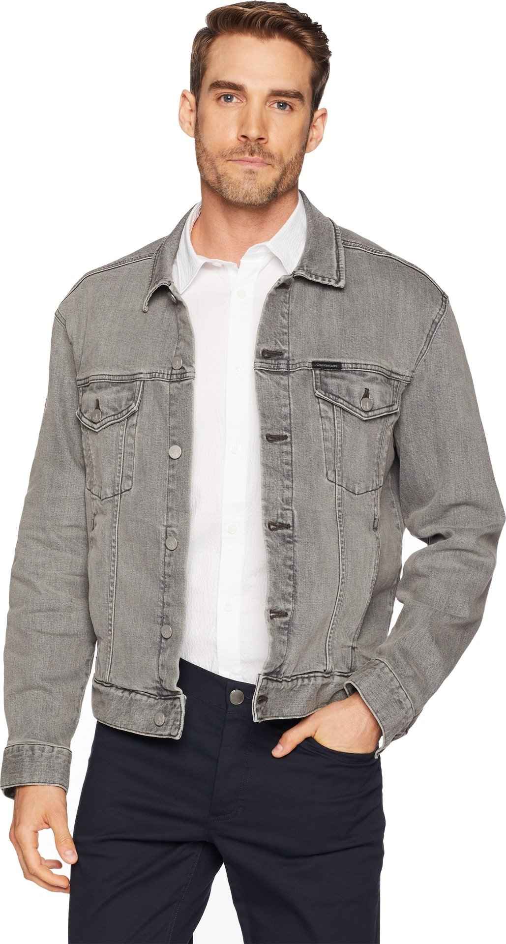 Calvin Klein Jeans Men's Denim Trucker Jacket, Santa Clara, L