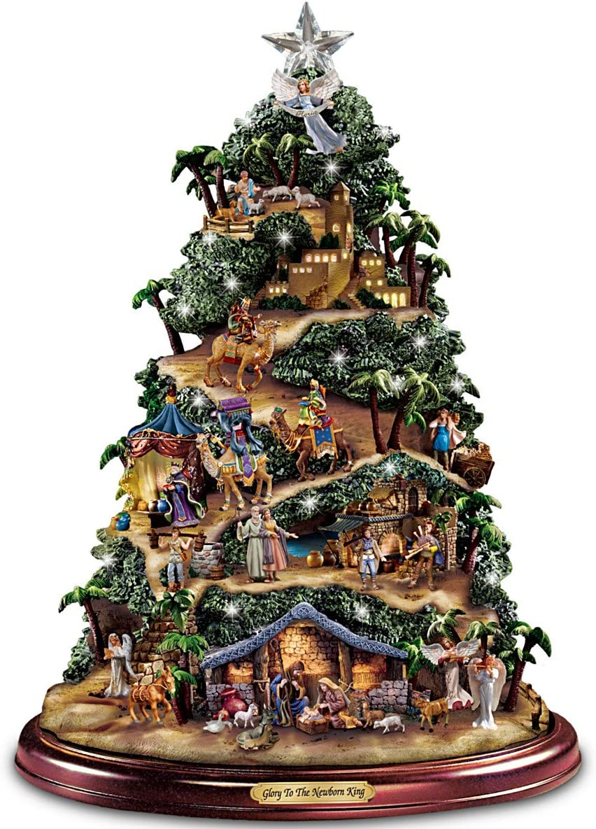 Thomas Kinkade Illuminated Nativity Tabletop Tree: Glory to The Newborn King by Hawthorne Village