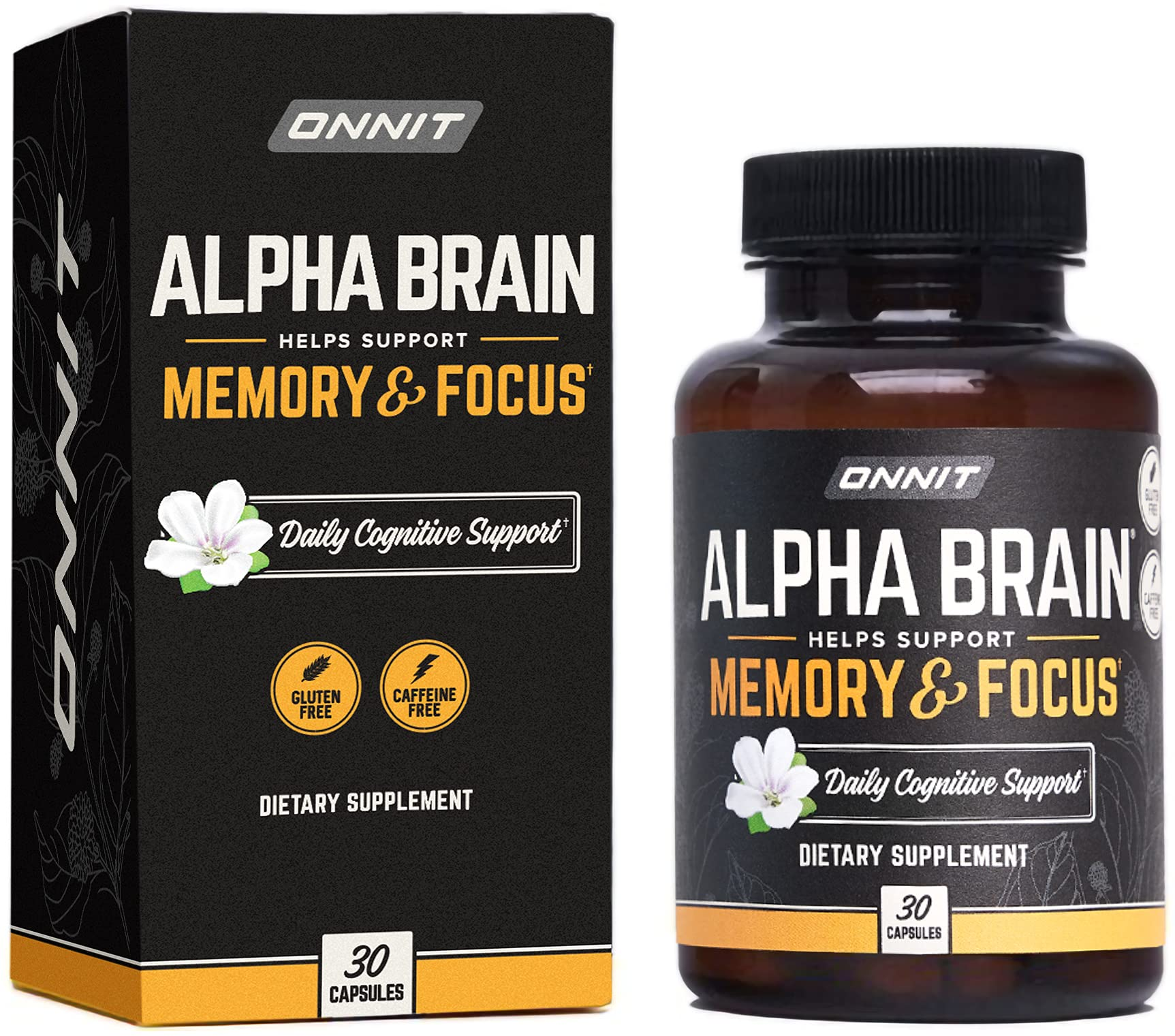 ONNIT Alpha Brain (30ct) - Over 1 Million Bottles Sold - Premium Nootropic Brain Supplement - Focus, Concentration & Memory - Alpha GPC, L Theanine & Bacopa Monnieri