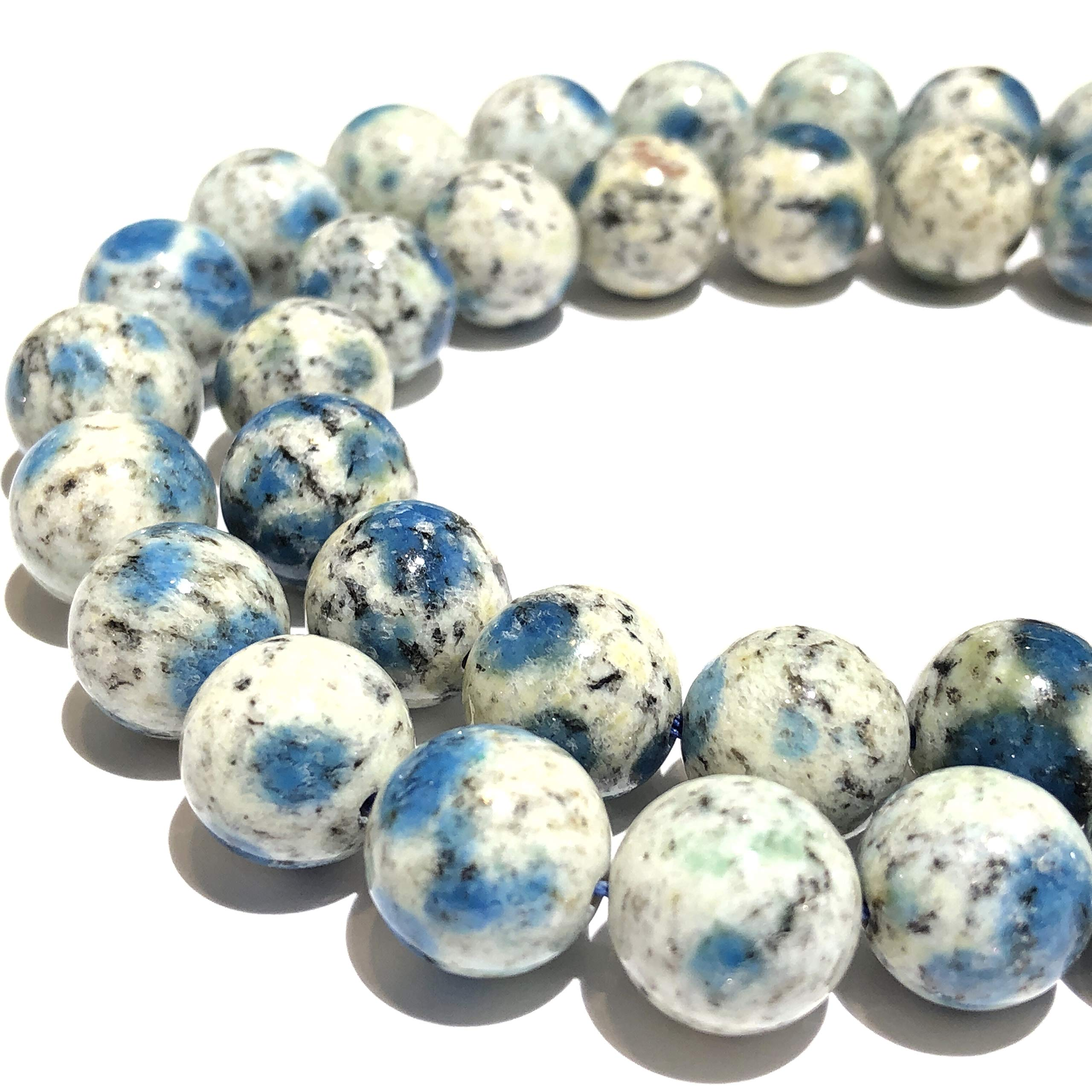 [ABCgems] Extremely Rare Himalayas K2 Azurite in Granite (Occasionally Inclusions with Apatite & Malachite) 12mm Smooth Round Beads for Beading & Jewelry Making