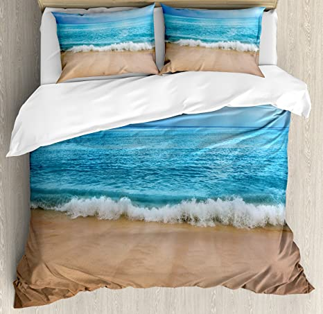 Amazon Com Ambesonne Ocean Duvet Cover Set Andaman Islands Calm Serene Sea Soft Sandy Beach Summer Day Picture Decorative 3 Piece Bedding Set With 2 Pillow Shams Queen Size Pale Brown Aqua And
