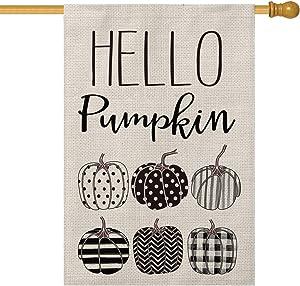 AVOIN Hello Pumpkin Fall House Flag Vertical Double Sized Polka Dot Buffalo Check Plaid Watercolor Stripes Chevron, Autumn Thanksgiving Holiday Yard Outdoor Decoration 28 x 40 Inch
