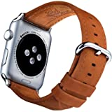 Apple Watch Band 42mm and Screen Protector - Brown Genuine Real Leather iWatch Straps for Men and Women from Innoavations for Series 1 & Series 2