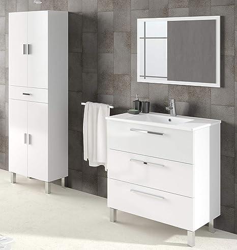 Miroytengo Pack Muebles baño Blanco Brillo con Armario Auxiliar ...