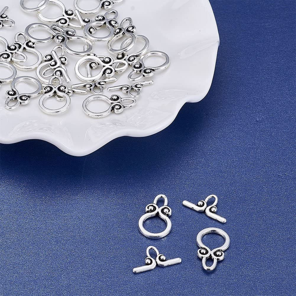 Pandahall 20Sets Tibetan Style Classic IQ Toggle Tbar Clasps for Bracelet Necklace DIY Jewelry Making Lead Free Cadmium Free Nickel Free Antique Silver