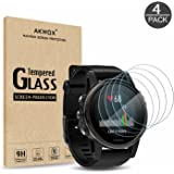 AKWOX (Pack of 4) Tempered Glass Screen Protector Garmin Fenix 5S / Fenix 5S Plus [0.3mm 2.5D High Definition 9H] Premium Clear Screen Protective Film Garmin Fenix 5S 5S Plus