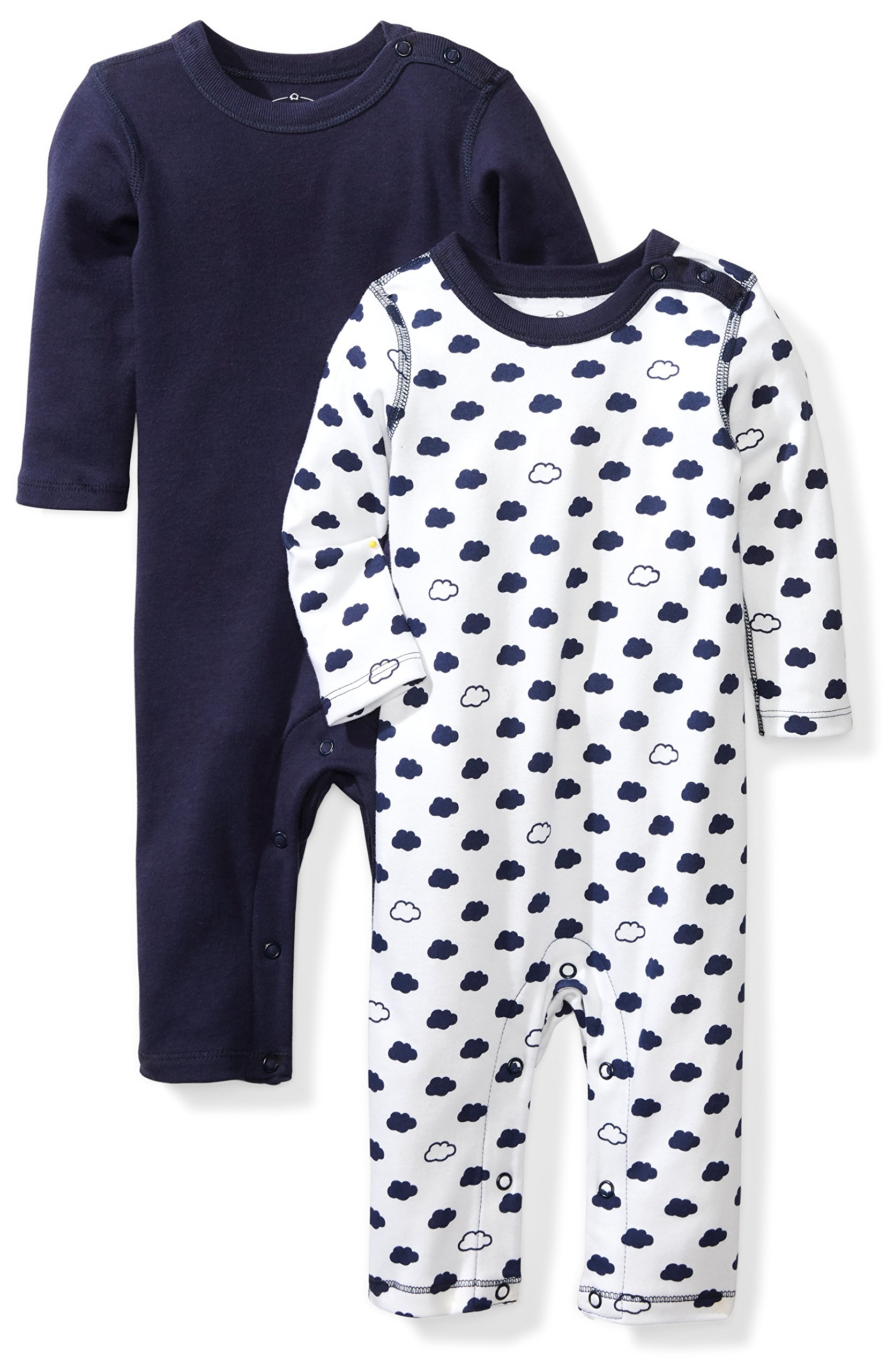 Moon and Back Baby Set of 2 Organic Long-Sleeve Snap-Shoulder Coveralls, Navy Sea, 3-6 Months by Moon and Back