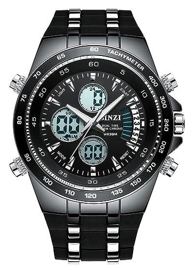 BINZI Hombre reloj de pulsera Relojes deportivos digital Reloj de cuarzo Reloj de lujo LED de