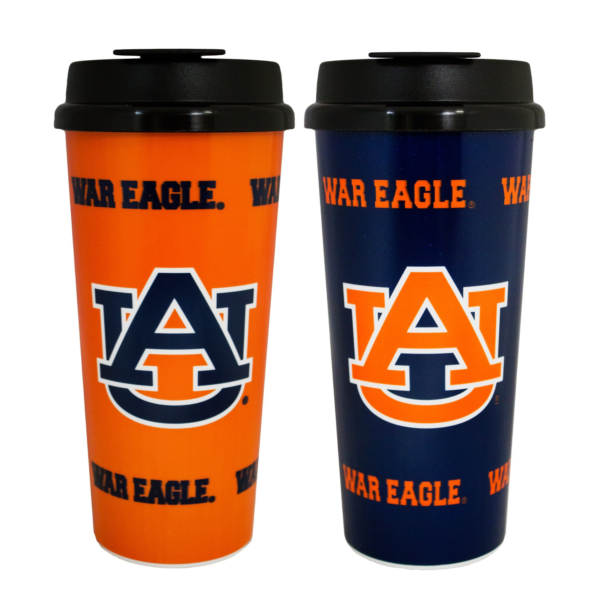 GameDay Novelty NCAA Auburn Tigers Insulated Travel Tumbler with No Spill Flip Lid, 16 oz, 2 Pack