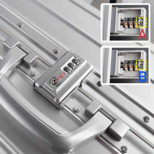 TRAVELKING All Aluminum Luggage Soinner Hard Shell Luggage Case Lightweight Metal Suitcase Silver, 28
