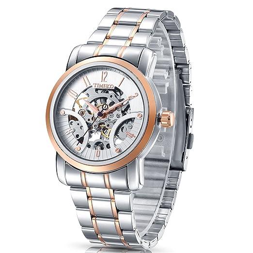Time100 moderno automático para hombre correa de acero inoxidable esqueleto reloj mecánico: Time100 Watch: Amazon.es: Relojes
