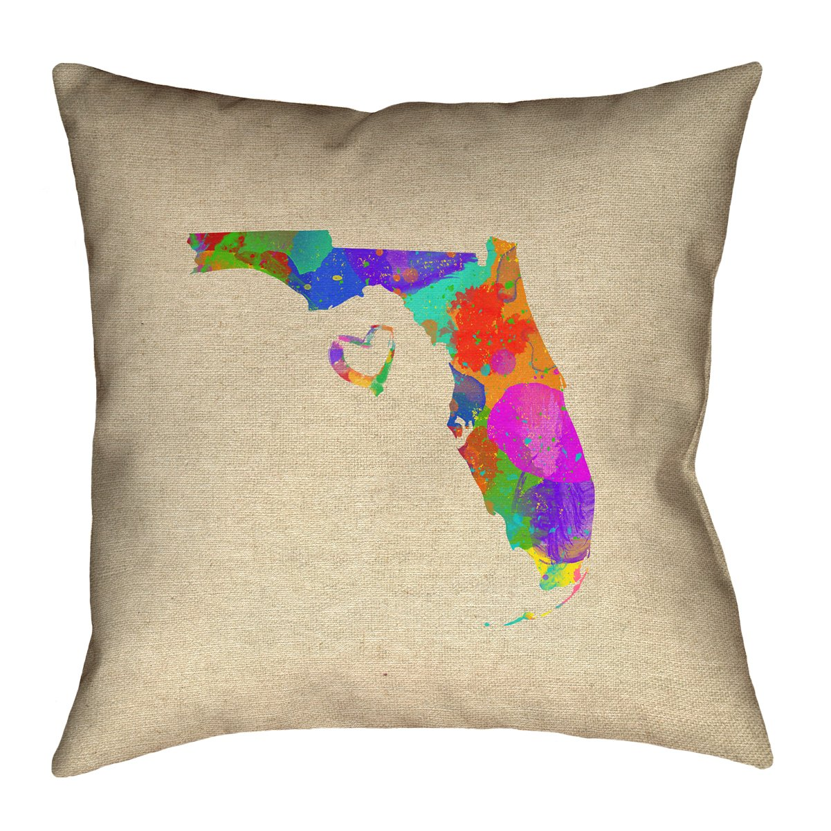 ArtVerse Katelyn Smith 26 x 26 Poly Twill Double Sided Print with Concealed Zipper /& Insert Florida Love Watercolor Pillow