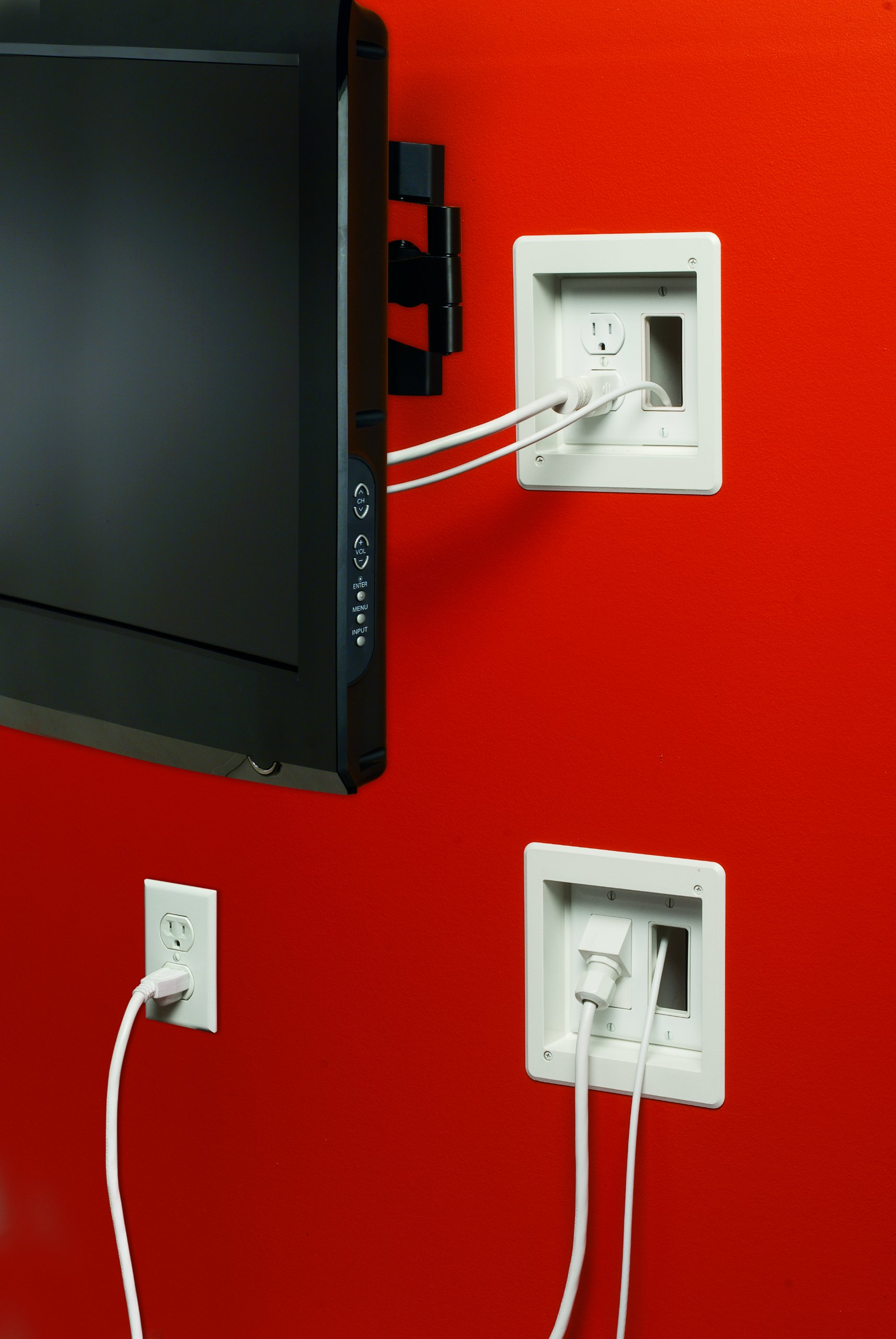 Arlington Tvbr505k 1 Tv Box Recessed Kit With Outlet And Wall Plates Wiring 2 Gang White Pack
