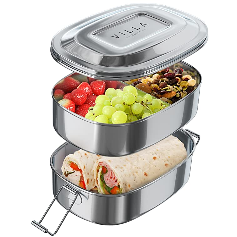 Stainless Steel Lunch Box Food Container Two Layer Lunchbox with Divided Compartments Easy Carry Strap and Secure Clips Dishwasher Safe Eco-Friendly Food Storage with Sections