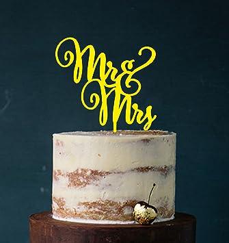 Cake Topper Mr Mrs Farbwahl Tortenstecker Tortefigur Acryl Tortenstander Etagere Hochzeit Hochzeitstorte Kuchenaufstecker Gelb