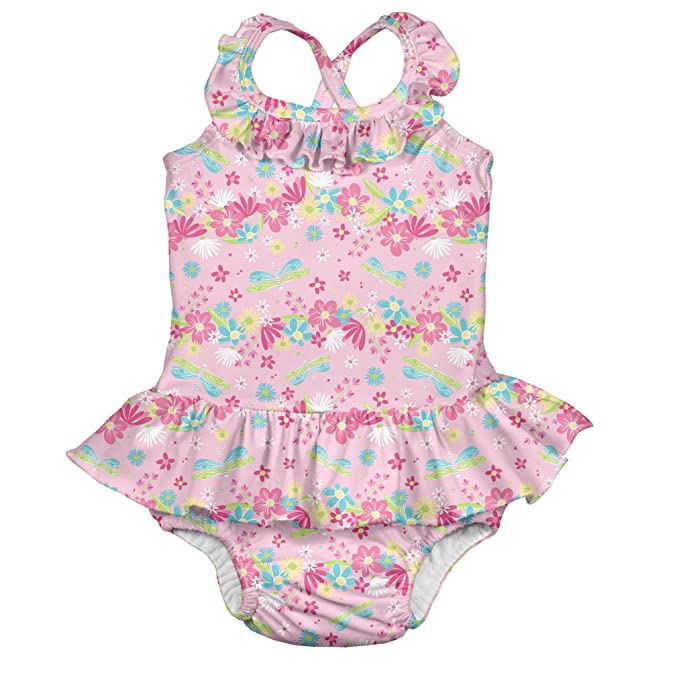 bacd2fa26e I-Play. Baby Girls' Ruffle Swimsuit with Built-in Reusable Absorbent ...