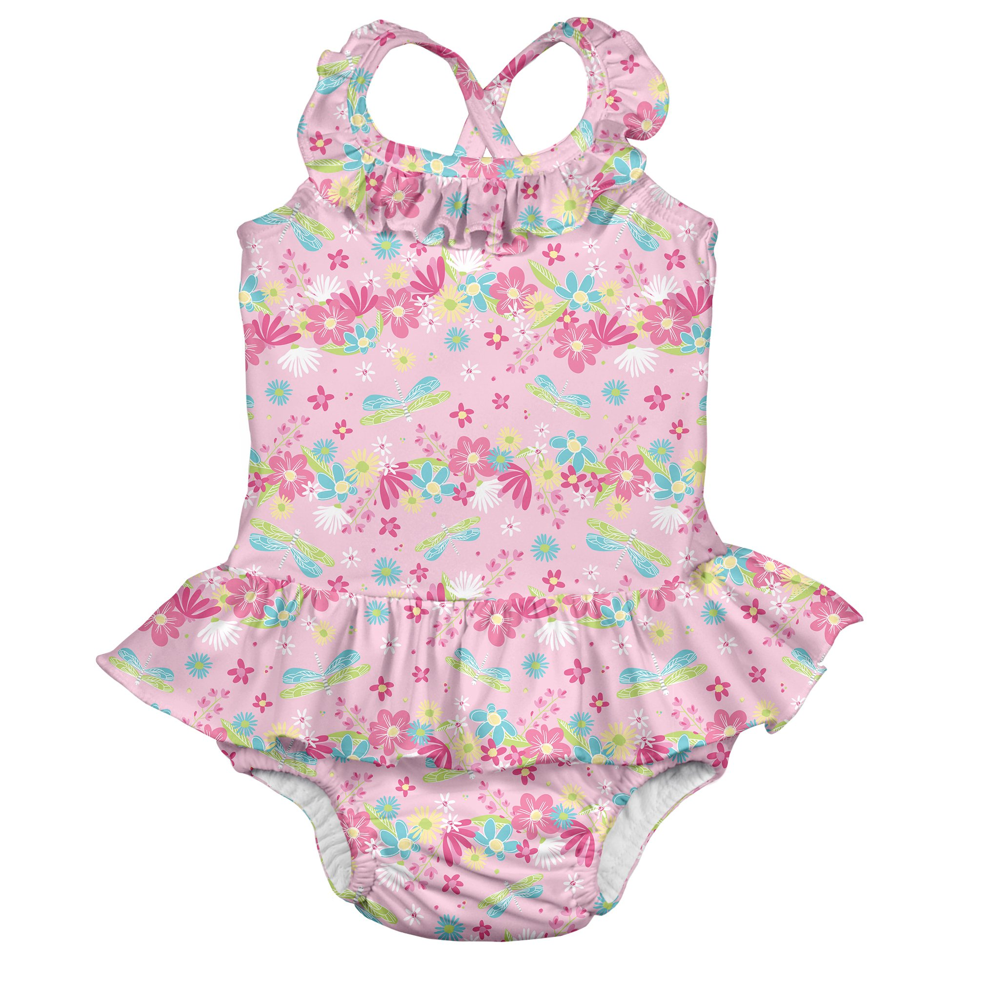 7d8fe20e7f6b3 Girls' 1pc Ruffle Swimsuit with Built-in Reusable Absorbent Swim Diaper