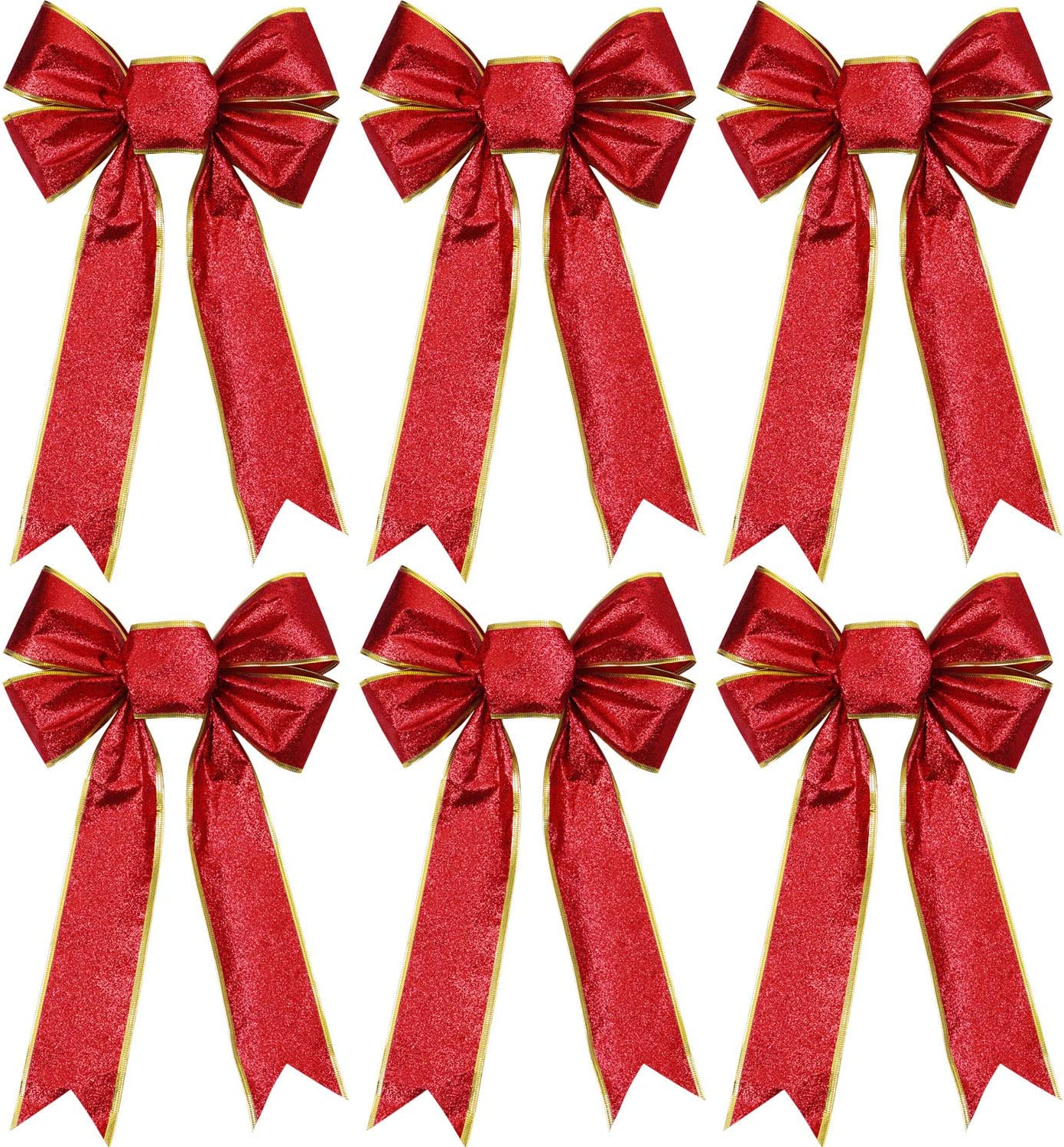 Aneco 6 Pieces Glitter Christmas Ribbon Bows Christmas Wreath Bows for Christmas Decoration or Home Decor, 9 x 12 Inches