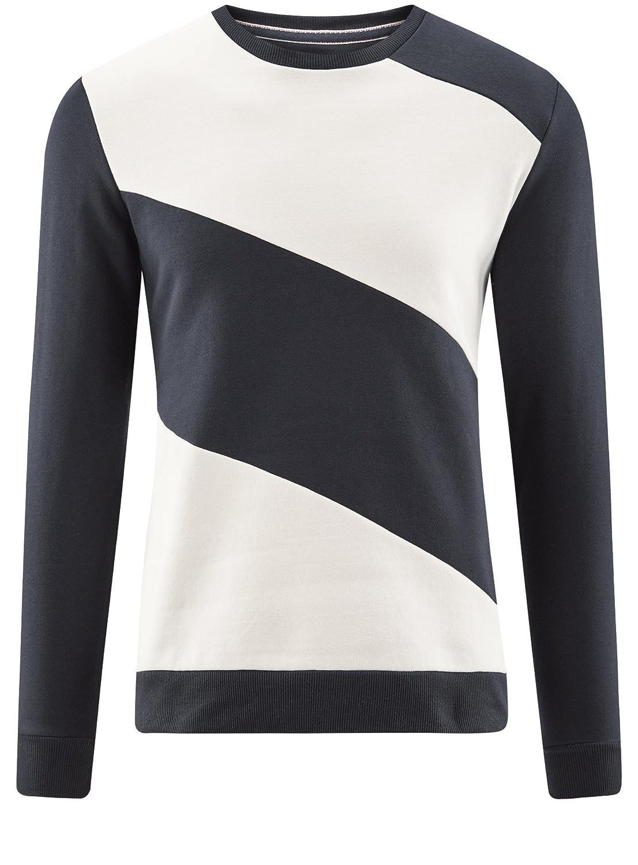 ef454a00f451 oodji Ultra Homme Sweat-Shirt Col Rond avec Empiècements Contrastants   Amazon.fr  Vêtements et accessoires