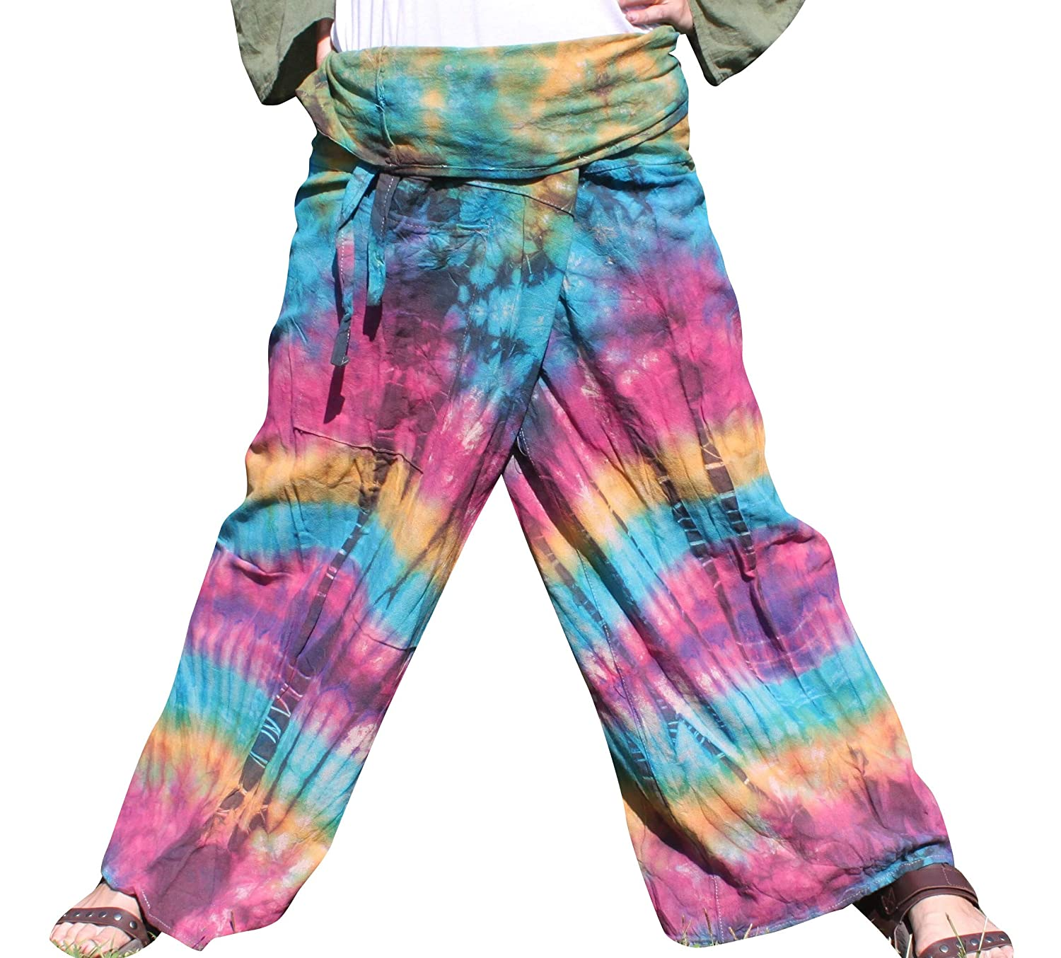 bluee Purple Yellow RaanPahMuang Thick Muang Cotton Thai Fishermans Pants Vibrant TieDyed Tie Dye