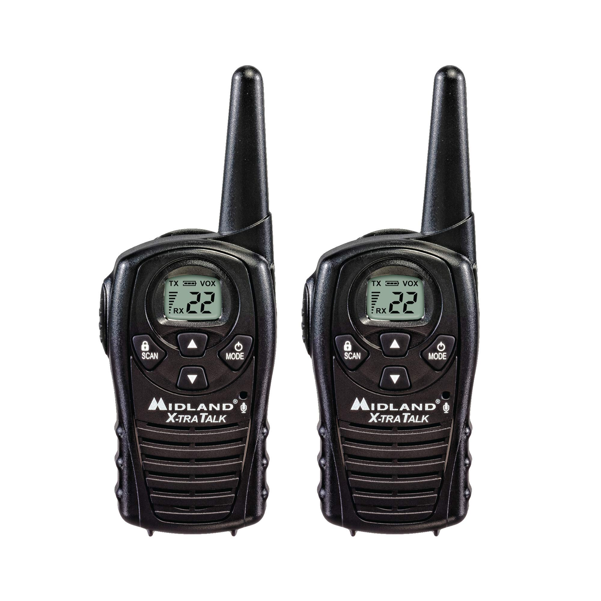 Midland - LXT118, FRS Walkie Talkies with Channel Scan - Up to 18 Mile Range Two Way Radio, Hands-Free VOX, Water Resistant (Pair Pack) (Black) by Midland
