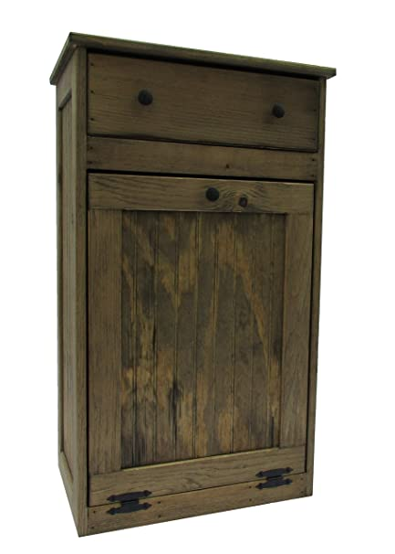 Amazon Com Wooden Tilt Out Trash Bin With Drawer Home Kitchen
