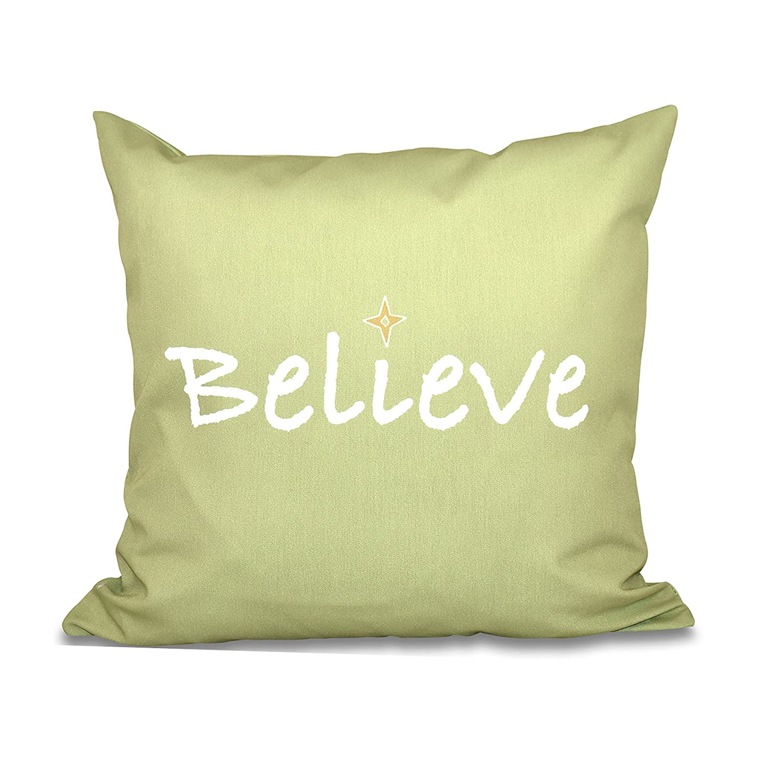 Word Print Pillow E by design PWHN523IV2-18 18 x 18-inch Cream Believe 18 x 18