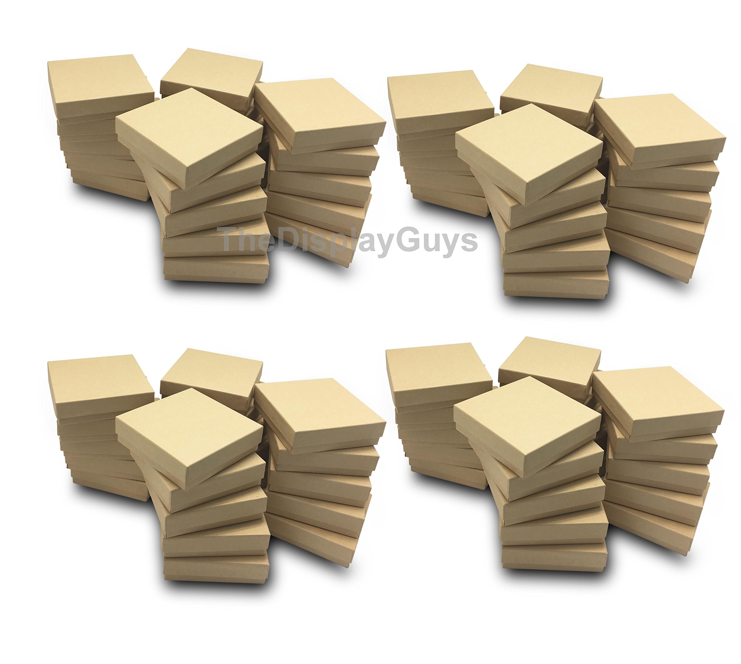 The Display Guys~ Pack of 100 Cotton Filled Cardboard Paper Kraft Jewelry Box Gift Case - Kraft Brown (3 1/2x3 1/2x1 inches #33) by The Display Guys