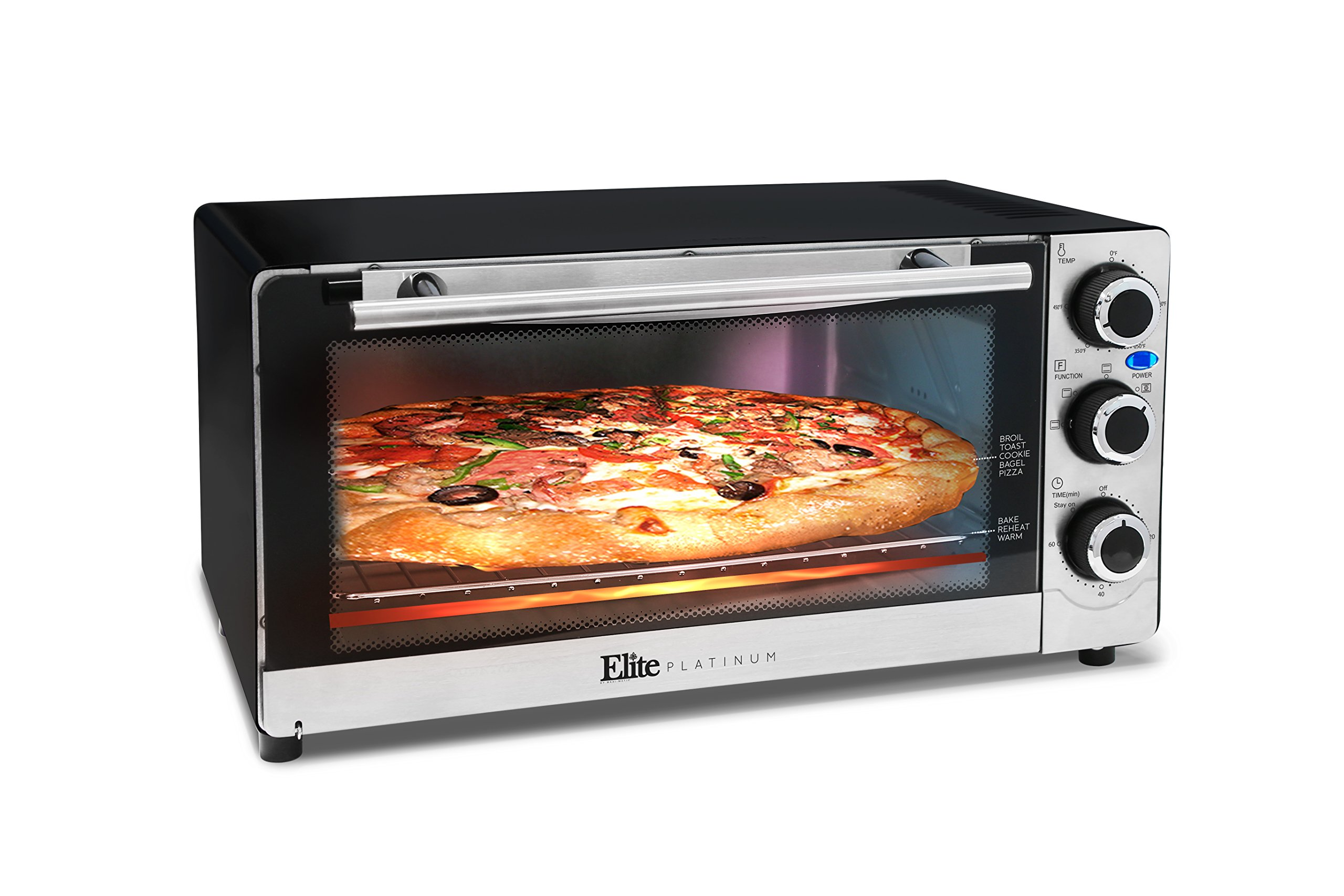 Elite Platinum ETO-140C Countertop Convection 6-Slice Toaster Oven, Stainless Steel/Black