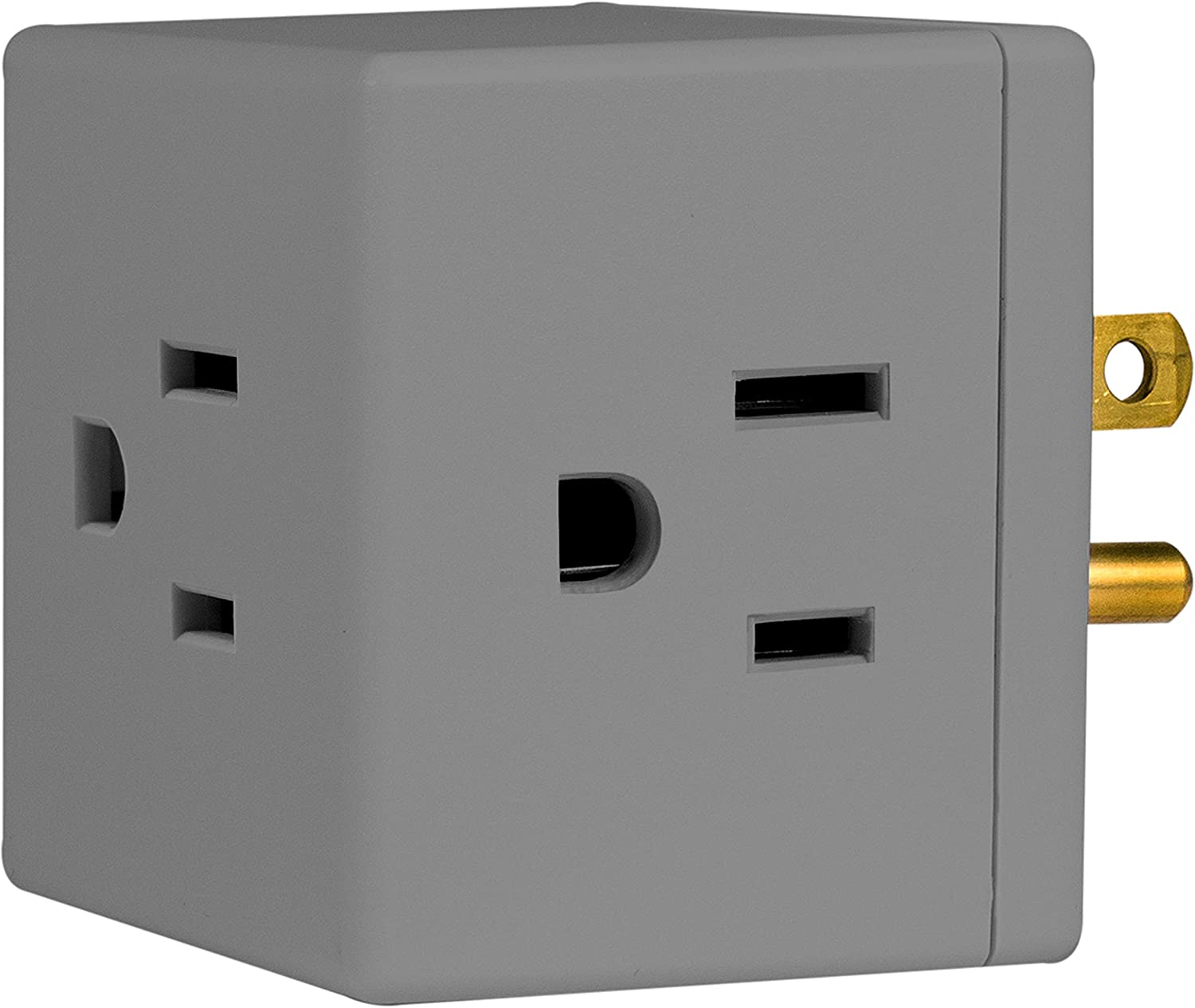 GE Outlet Wall Tap, 3-Prong, Extra-Wide Space Adapter, Easy Access Design, Gray, 47493, 1 Pack